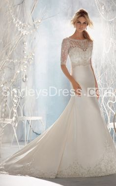 Sophisticated Middle-sleeve Crystal-beaded Lustrous Satin Train Wedding Gown