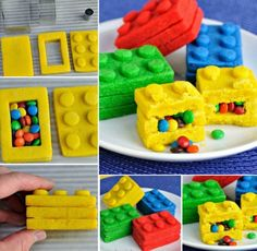 The kids will love these bright and colorful candy filled Lego Brick Pinata Cookies. They're perfect for any party, big kids too! Pinata Cookies, Lego Cookies, Candy Filled Cake, Projects For Kids, Diy For Kids, Lego Pinata, Lego Birthday Party, Birthday Cakes, Lego Candy