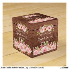 Rustic coral flowers bridal shower thank you brown favor box Country Style Wedding, Rustic Wedding, Dahlia Flower, Flowers, Baby Shower Thank You, Gender Neutral Baby Shower, Favor Boxes, Wedding Designs, Colorful Backgrounds