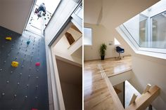 A house with a three-floor climbling wall.  I've never climbed, but I should like to install one of these in my house.