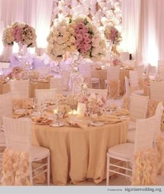 AMAZING WEBSITE!!!!   18 Fabulous Wedding Reception Color Scheme, Chair & Table Covers With Stunning Decor Ideas   #WhiteChair