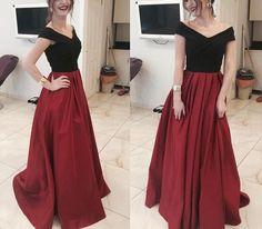 Black and Red Prom Dresses, Off Shoulder Satin Party Dresses, Formal Dresses 2018