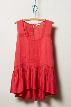 Anthropologie Lace Peplum Tank Size M, Swingy Cotton Blend Top Meadow Rue, Red #MeadowRue #TankCami #Casual