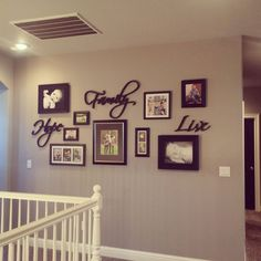 30 wall decor ideas for your home: gallery wall, greige walls, black doors, House Design, Hallway Decorating, Wall Decor, Farmhouse Decor, Family Room, Home, Diy Home Decor, Greige Walls, Photo Frame Decoration Wall