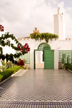 Tangier, Morocco love the green with the chevron tile