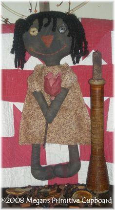 Primitive Black Annie Austins Doll Ellie and her tulip Pattern epattern