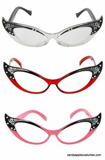 Vintage Style Cat Eye Rhinestone Glasses for 50's Party (could probably find cheaper elsewhere) http://www.candyapplecostumes.com/els84601-4.html