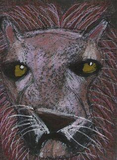 "Oil pastel lion on black. From exhibit ""3rd Grade-Lion Portraits."""