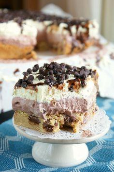 Chocolate Chip Cookie Cream Pie Squares