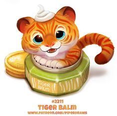 Daily Paint Tiger Balm by Cryptid-Creations on DeviantArt - Clou,clouer Cute Food Drawings, Cute Animal Drawings Kawaii, Kawaii Drawings, Cute Fantasy Creatures, Mythical Creatures Art, Cute Creatures, Animal Puns, Animal Food, Tiger Balm