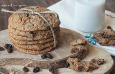 A recipe for chewy grain-free oatmeal raisin cookies without the oats or gluten!