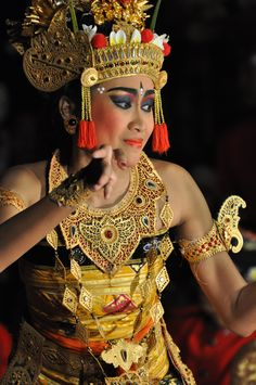 A beautiful Apsara dancer, performing the Ramayana in Ubud, Bali. The Ramayana ballet tells the story of a legendary epic, presented in a series of graceful dance movements accompanied by gamelan music.