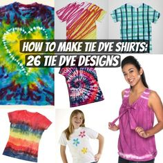 Now is your chance to learn how to make tie dye shirts for your entire family with How to Make Tie Dye Shirts: 26 DIY Ideas. These cool, crazy tie dye designs aren& just for camp kids and hippies. Easy Diy Tie Dye, How To Tie Dye, Cool Tie Dye Designs, Tie Dye Steps, Tie Dye Folding Techniques, Tie Dye Tutorial, Ty Dye, Diy Tie Dye Shirts, Tie Dye Party