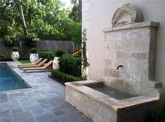 Page One of our Antique Limestone Wall Fountains by Ancient Surfaces Landscaping With Fountains, Outdoor Wall Fountains, Stone Fountains, Garden Fountains, Outdoor Landscaping, Landscaping Design, Garden Sink, Tropical Garden Design, Limestone Wall