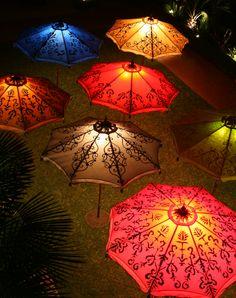 Hand painted patio umbrellas