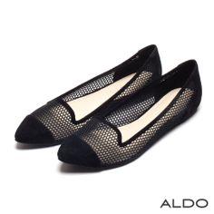 ALDO 慾望城市麂皮拼接幾何鏤空尖頭平底包鞋~謎樣黑 - Yahoo!奇摩購物中心