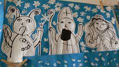 obrázky jsou nakreslené tuší, obstřižené a nalepené na velký formát modrého papíru  vločky, sníh- tempera  2. třída, 2 hodiny Angel And Devil, Tempera, Advent, Disney Characters, Fictional Characters, Preschool, Snoopy, Winter, Christmas