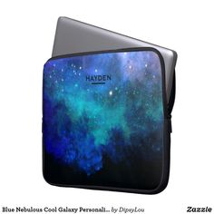 Blue Nebulous Cool Galaxy Personalised Laptop Sleeve
