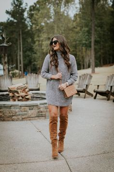 funnel neck sweater dress, over the knee boots, cognac over the knee boots, dolce vita over the knee Casual Winter Outfits, Winter Fashion Outfits, Winter Dresses, Autumn Winter Fashion, Fall Outfits, Outfit Winter, Winter Style, Dress Winter, Winter Shoes