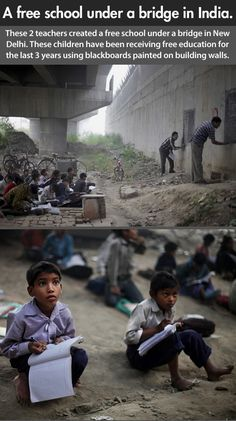 """A free school under a bridge in India. These 2 teachers created a free school under a bridge in New Delhi. These children have been receiving free education for the last 3 years using blackboards painted on building walls"" We Are The World, In This World, Mundo Cruel, Under Bridge, Faith In Humanity Restored, Free Education, Poor Children, Children Reading, Good People"