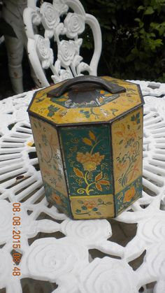 Hey, I found this really awesome Etsy listing at https://www.etsy.com/pt/listing/243536194/antique-painted-candy-tea-tin-kitchen