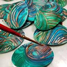 Souffle Watercolor Waves - syndee holt for Sculpey Polymer Clay Canes, Polymer Clay Necklace, Polymer Clay Pendant, Polymer Clay Projects, Polymer Clay Creations, Polymer Clay Beads, Diy Clay, Clay Crafts, Kids Crafts