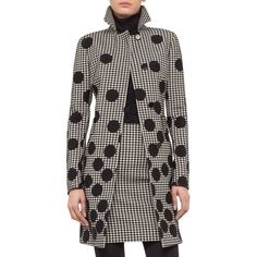 Akris punto Dotted Houndstooth A-Line Coat ($2,130) ❤ liked on Polyvore featuring outerwear, coats, hounds tooth coat, polka dot coat, a-line coat, houndstooth coat and akris punto