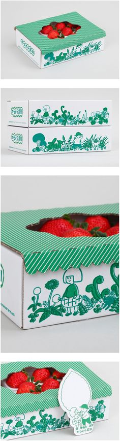 Japan strawberries Norakura farm package | homesickdesign PD   - Produce Packaging -   #