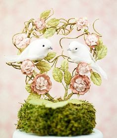 """""""You Landed on my Heart"""" Dove Wedding Cake Topper"""