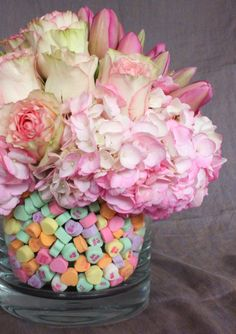 """Conversation Hearts"" Valentine Floral Arrangement (Uses one vase tucked inside another.)"