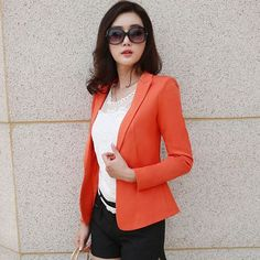 Design Long-Sleeve Women's Blazer Suit OL Slim Black Orange Jacket