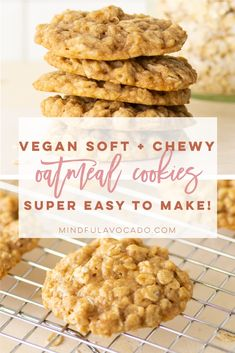 Soft + Chewy Vegan Oatmeal Cookies - Vegan Oatmeal Cookies are a classic cookie recipe. So easy to make and only requires simple ingredients. Easy Vegan Cookies, Vegan Oatmeal Cookies, Oatmeal Cookie Recipes, Delicious Cookie Recipes, Vegan Dessert Recipes, Healthy Cookies, Vegan Treats, Vegan Foods, Baking Recipes
