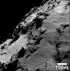 Part of Comet 67P/Churyumov–Gerasimenko's large lobe, smooth region named Ash and the exposed layers in Seth.