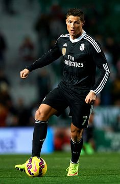 Cristiano Ronaldo of Real Madrid runs with the ball during the La Liga match between Elche FC and Real Madrid CF at Estadio Manuel Martínez Valero on February 22, 2015 in Elche, Spain.