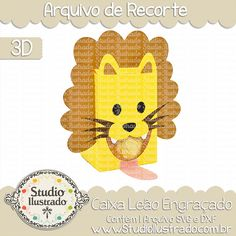 Caixa Leão Engraçado, Caixa, Leão, Engraçado, Funny Lion Box, Funny, Lion, Box, projeto 3d, boxes, box, arquivo de recorte, caixa, 3d,svg, dxf, png, Studio Ilustrado, Silhouette, cutting file, cutting, cricut, scan n cut.