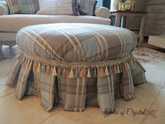 Gates of Crystal: Reupholstering a Round Ottoman - With Almost No Sewing! Storage Ottoman Coffee Table, Round Storage Ottoman, Ottoman Decor, Ottoman Bench, Round Tufted Ottoman, Upholstered Ottoman, How To Make Ottoman, Sitting Pillows, Pouf Footstool