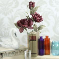 Glittered Burgundy Plum Rose Spray