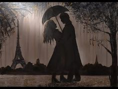 Acrylic painting lesson for beginners, creating the silhouette painting named «Rain in Paris» - YouTube