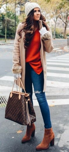 #thanksgiving #outfits Exploring Paris COAT J.Crew // Red SWEATER: BP // Skinny Ripped Jeans: AG Jeans // BEANIE: BP // HANDBAG: Louis Vuitton // BOOTIES: Sam Edelman // White GLOVES