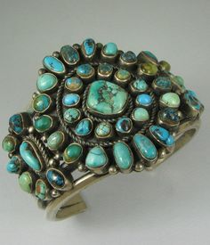 Hvy Navajo KIRK SMITH (d.) Satellite Turquoise Cluster Bracelet in Collectibles, Cultures & Ethnicities, Native American: US Navajo Jewelry, Southwest Jewelry, Ethnic Jewelry, Turquoise Jewelry, Southwestern Style, Turquoise Cuff, Vintage Turquoise, Turquoise Bracelet, Turquoise Color