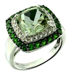 RB Gems Sterling Silver 925 Statement Ring Genuine Gemstone Cushion 10 mm with Rhodium-Plated Finish