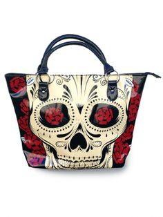 """Day Of The Dead"" Tote Bag by Jawbreaker (Black)"