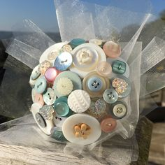 Customisable Dusty Blue Blush Button Bouquet / Flower Girl Posy Any colour/theme made to order Flower Girl Bouquet, Blush Bouquet, Bridesmaid Bouquet, Button Bouquet, Button Flowers, Alternative Bouquet, Dusty Blue Weddings, Wedding Abroad, Offbeat Bride