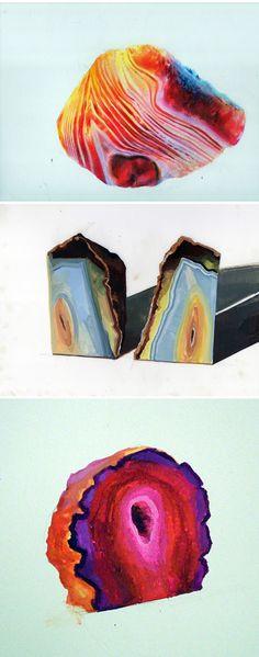 Geode series - paintings by Cecelia Phillips