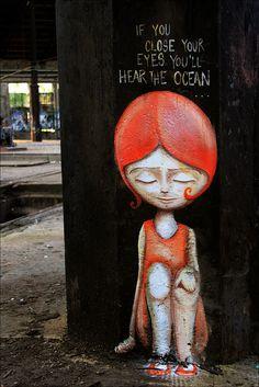 If you close your eyes you'll hear the ocean...graffiti/street art by Caro Geduldig, Berlin