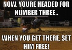 One of the first things I taught Ella when we started barrel racing! Once you get to that third barrel, go go go :)