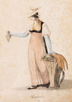"""gravures rehaussées à l'aquarelle: """"Vaudoise / 21"""", dessiné et gravé par Wisard (déchirure et petits trous). H. 21.2x15 cm"""
