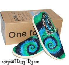 Tie Dye TOMS Shoes Kids Sizes hand dyed by One by onegreatthing, $100.00