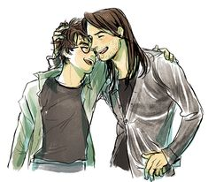 Harry and sirius? or james and sirius? hp гарри поттер и вол Harry James Potter, Harry Potter Anime, Harry Potter Fan Art, Harry Potter Universal, Harry Potter Fandom, Harry Potter World, Harry Potter Birthday Quotes, All The Young Dudes, Harry Potter Illustrations