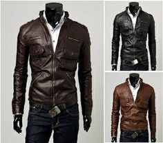 Men's Classic PU Leather Jacket with Pockets